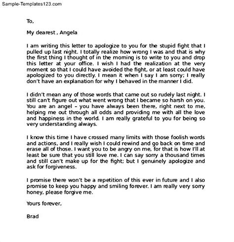 Apology Letter To Friend After Fight Apology Letter To Your Sle Templates