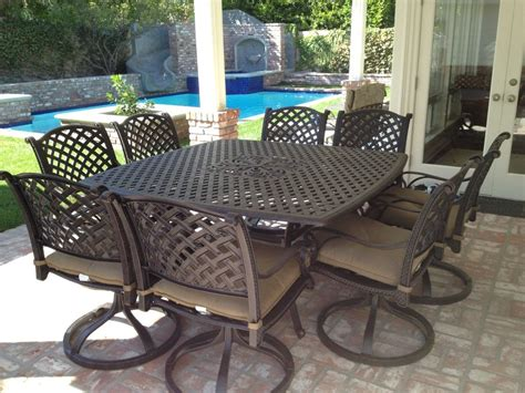 Patio Dining Furniture Sets 9 For 8 Cast Aluminum Outdoor Patio Square Dining Set With Table Chairs Ebay