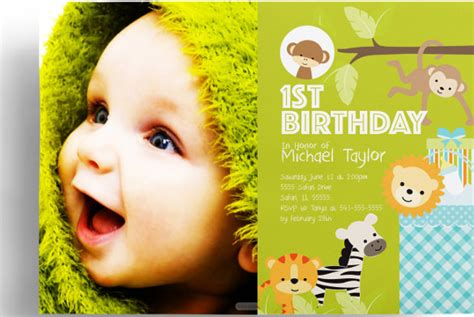 1st birthday cards templates free free jungle themed invitation template orderecigsjuice info