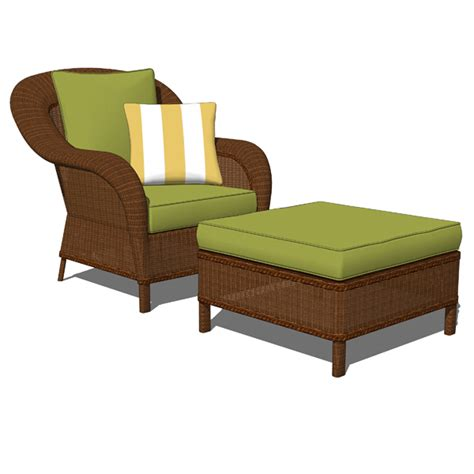 rattan armchair and ottoman palmetto wicker armchair and ottoman 3d model formfonts