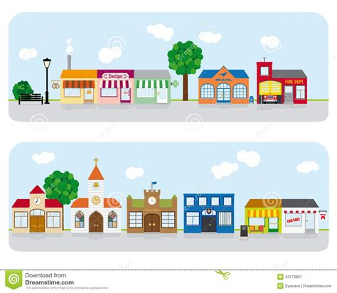 House Building Plans With Prices by Village Main Street Neighborhood Vector Illustrati Stock