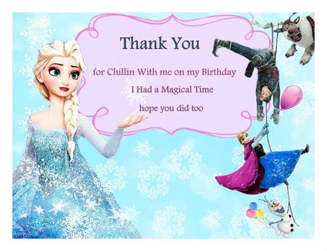 frozen themed birthday messages free frozen birthday thank you cards frozen party