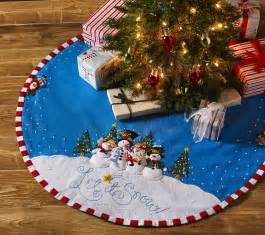 let it snow bucilla felt christmas tree skirt kit by mary