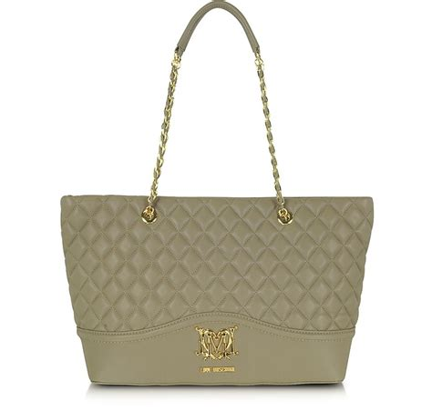 Moschino Quilted Velvet Tote by Moschino Taupe Moschino Quilted Eco Leather Tote At