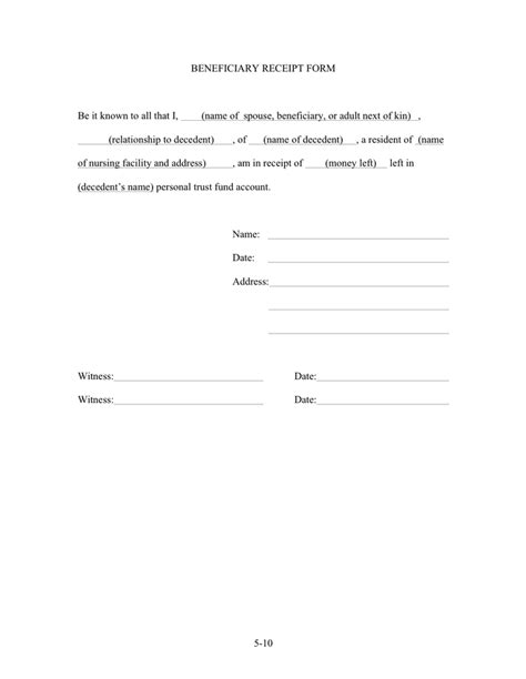 Llc Distribution Receipt Template by Beneficiary Receipt Form In Word And Pdf Formats