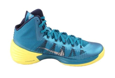 nike hyperdunk 2013 mens teal yellow mid top athletic sneakers