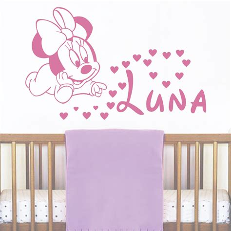 Tokomonster Minnie Mouse 4 Name Wall Decal Sticker Size 23 jjrui wall personalised name decals baby minnie mouse vinyl sticker baby name nursery