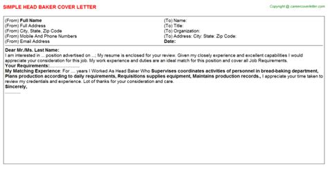 Baker Cover Letters by Cover Letter Exles For Bakery Cover Letter Templates
