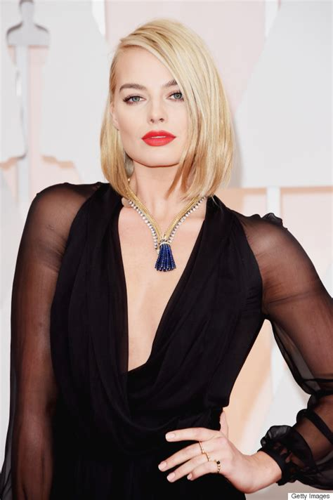 blonde bob red dress oscars 2015 makeup was all about bold lips huffpost
