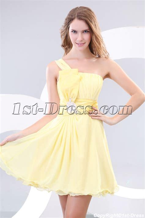 Yellow One Shoulder Short Pretty Graduation Dresses:1st dress.com