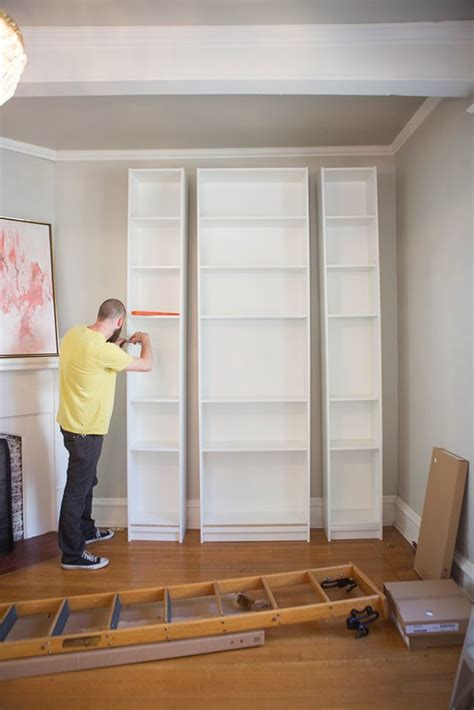 s living room ikea billy bookshelves hack the