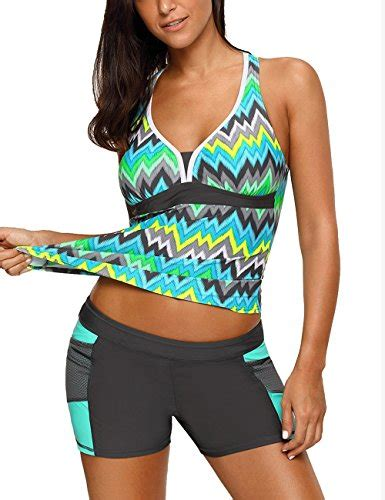 Set Printed Tankini Swim Shorts ackkia women s color block printed 2 pieces tankini set