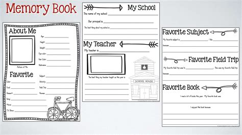 End Of The Year Memory Book Activities Free Printable Memory Book Templates