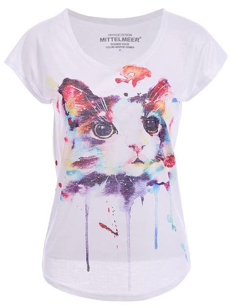 cute t shirt pattern cute short sleeve round collar cat pattern t shirt for