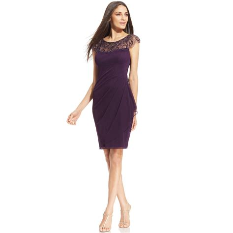 xscape cap sleeve illusion beaded dress in purple plum