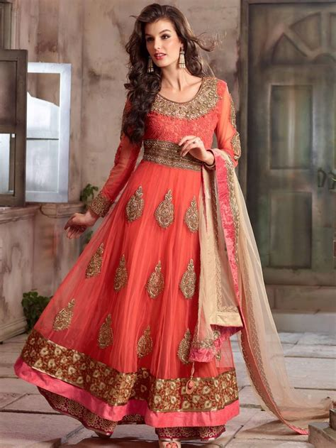 buy online salwar suits online shopping anarkali suits buy orange embroidered net semi stitched salwar with