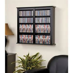 Wall Hanging Dvd Storage Double Wall Mounted Media Storage Unit In Black Dvd Storage