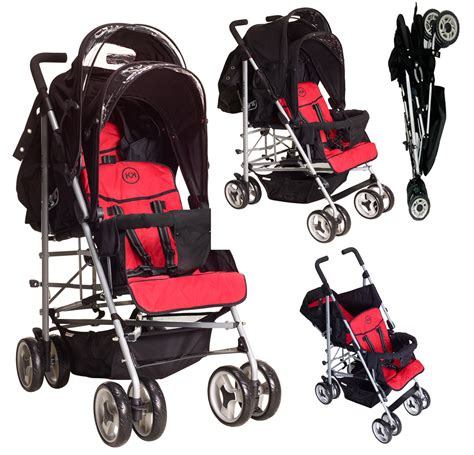 fully reclining stroller duo double buggy twin tandem pushchair stroller 2 seat