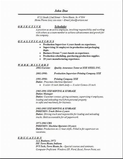 scheduler resume occupational exles sles free edit