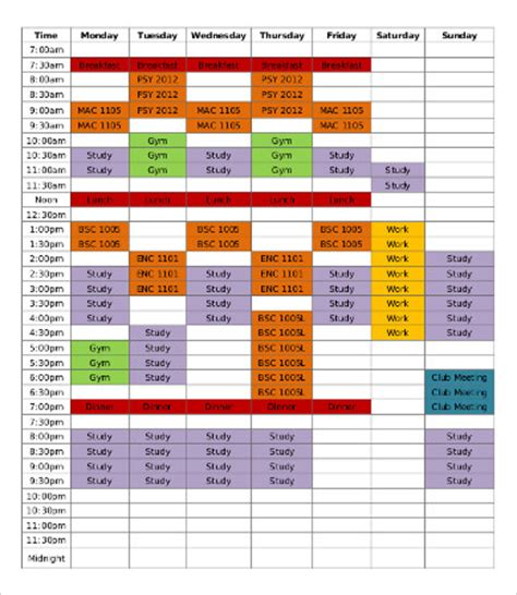 study schedule templates gallery templates design ideas