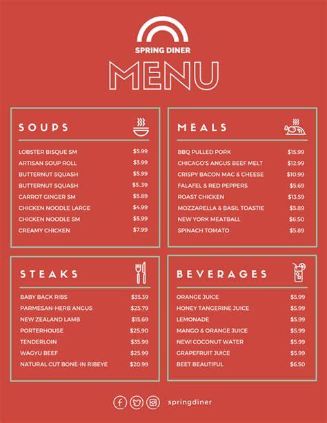 canva restaurant menu menu templates canva