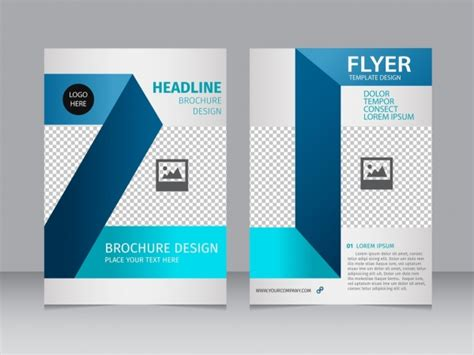 layout brosur psd brochure flyer 3d blue checkered background free vector in