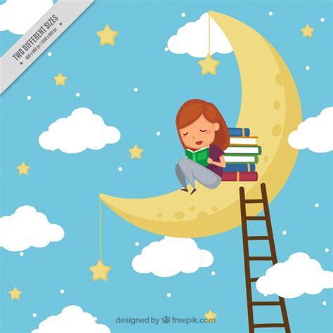 libro en la luna fondo de ni 241 a leyendo libros en la luna descargar vectores gratis