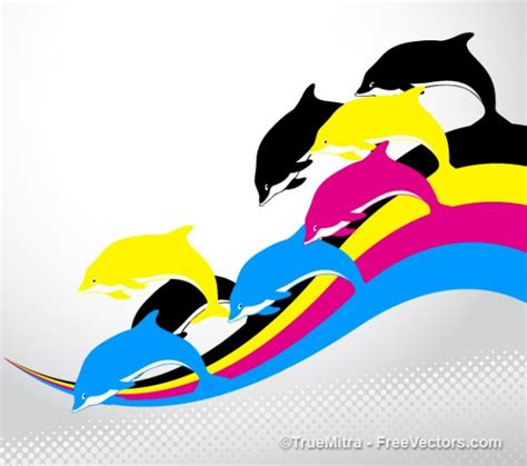 colorful dolphins dolphins on colorful stripes vector free