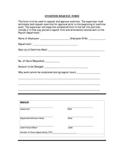 Permission Letter To Work Overtime Best Photos Of Request For Overtime Overtime Request Form Template Overtime Request Form