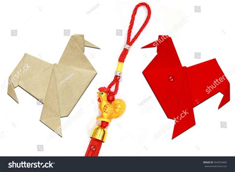 origami new year decorations paper folded rooster handmade origami lucky stock photo