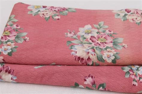 shabby chic barkclothfabric by the vintage floral print cotton barkcloth fabric flowers on faded pink shabby cottage chic