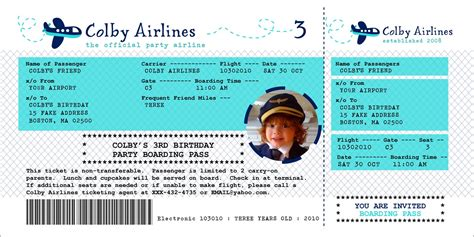 Airline Ticket Template New Calendar Template Site Airline Ticket Invitation Template