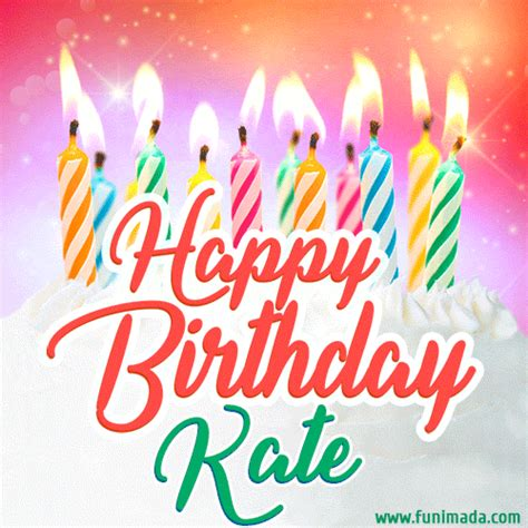 happy birthday gif  kate  birthday cake  lit candles   funimadacom