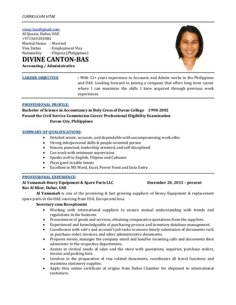 Resume Sle With Civil Service Eligibility Cv Bas