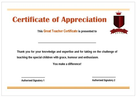 free certificate templates for teachers certificate of appreciation for teachers template
