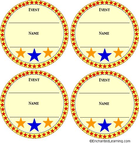 printable paper medals color medal templates enchantedlearning com paper