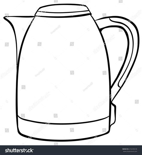 Water Pot Outline by Simple Kettle Black Outline Stock Vector 272235518
