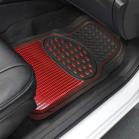 Black Car Mats by Black Metallic Design Rubber Car Floor Mats Ring Steering Wheel Cover Ebay