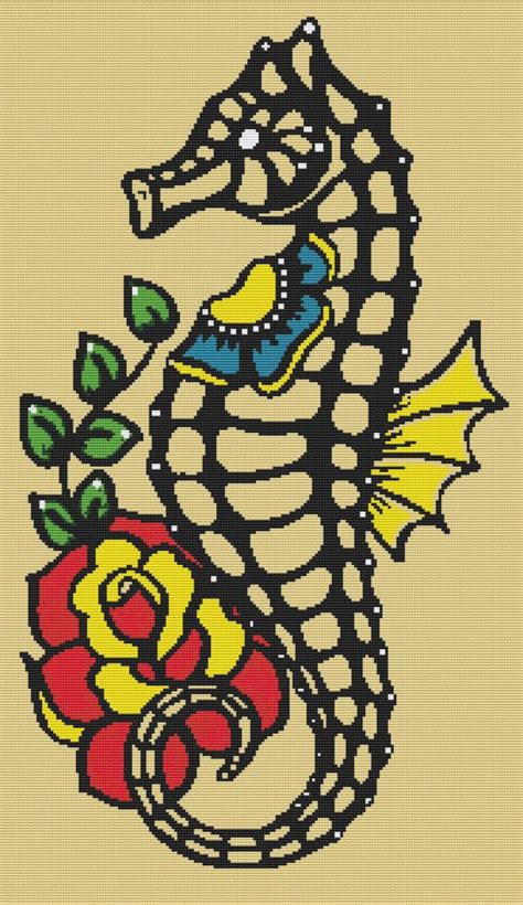 tattoo cross stitch kit cross stitch kit by illustrated ink skeleton seahorse