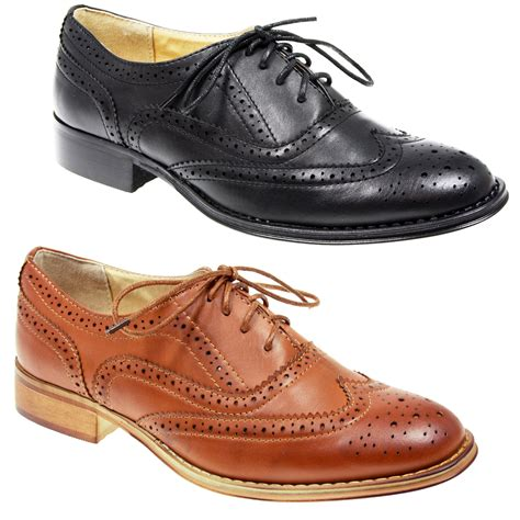 womens lace up flat office formal school oxford