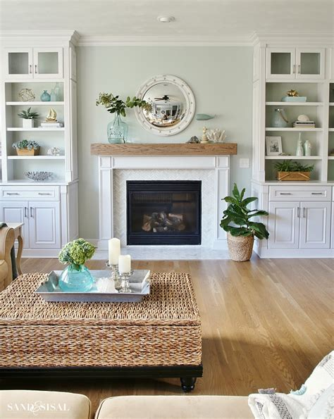 coastal family room and fireplace makeover sand and sisal