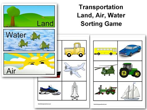 kindergarten activities on transportation free printable land air water transportation sort