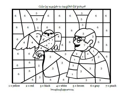 harry potter coloring pages color by number 187 harry potter and hedwig color by number lesson plan of