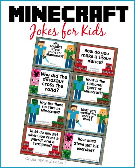 printable minecraft jokes minecraft printable boxes images