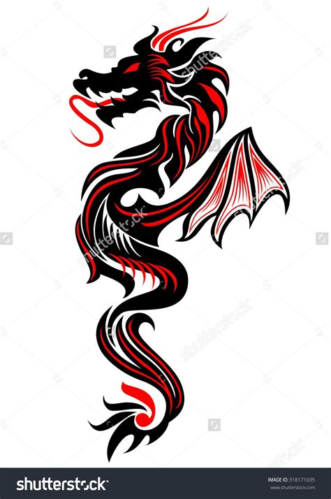 dragon tattoo vector illustration for black and tribal vector illustration