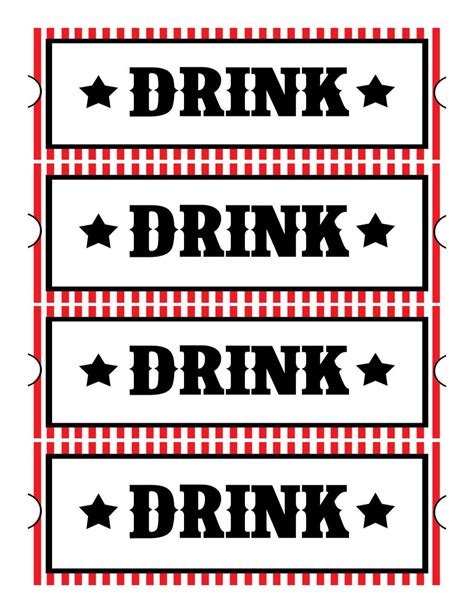 drink token template printable drink tickets wedding free