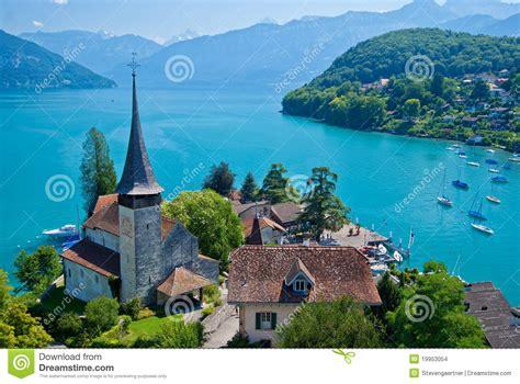 lade thun spiez church lake thun spiez switzerland stock photo