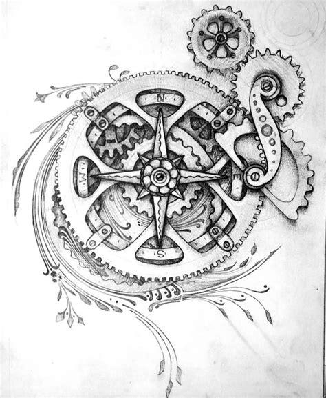 compass tattoo with gears 25 fantastic bike gear tattoos
