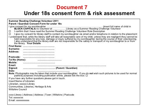 volunteer consent form template study on working with volunteers at chippenham