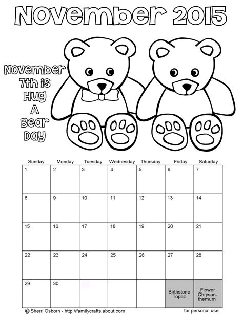 november holidays coloring pages free coloring pages of november calendar 2015